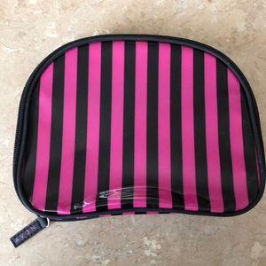 Avon Pink & Black Stripe Patent Makeup Bag